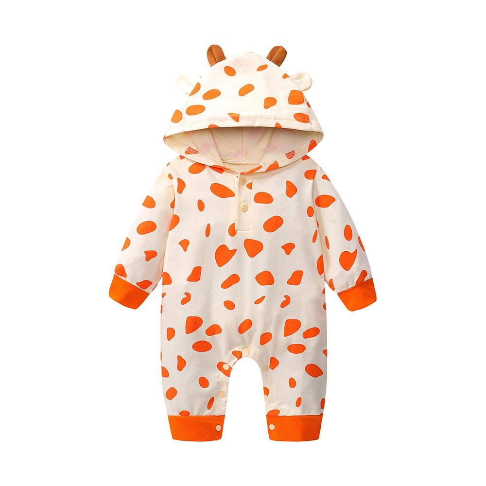 Scaling/♥Baby Romper Jumpsuit/♥Newborn Toddler Baby Boys Girls Cow Print Romper Jumpsuit Hooded Outfits Clothes