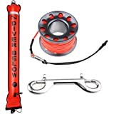 Seafard 4ft Red Scuba Diving Open Bottom Surface Marker Buoy (SMB) with 49ft Finger Spool Alloy Dive Reel and Double Ended Bolt Clip - Gray