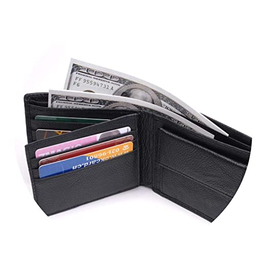 Leather Wallet Men New Purses for men Black Brown Bifold Wallet RFID Blocking Wallets,black