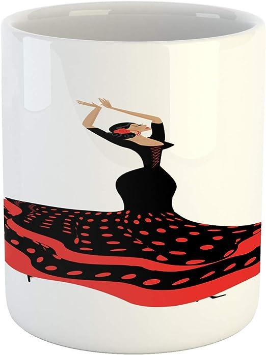 Taza española, sexy dama flamenca española en vestido de lunares ...