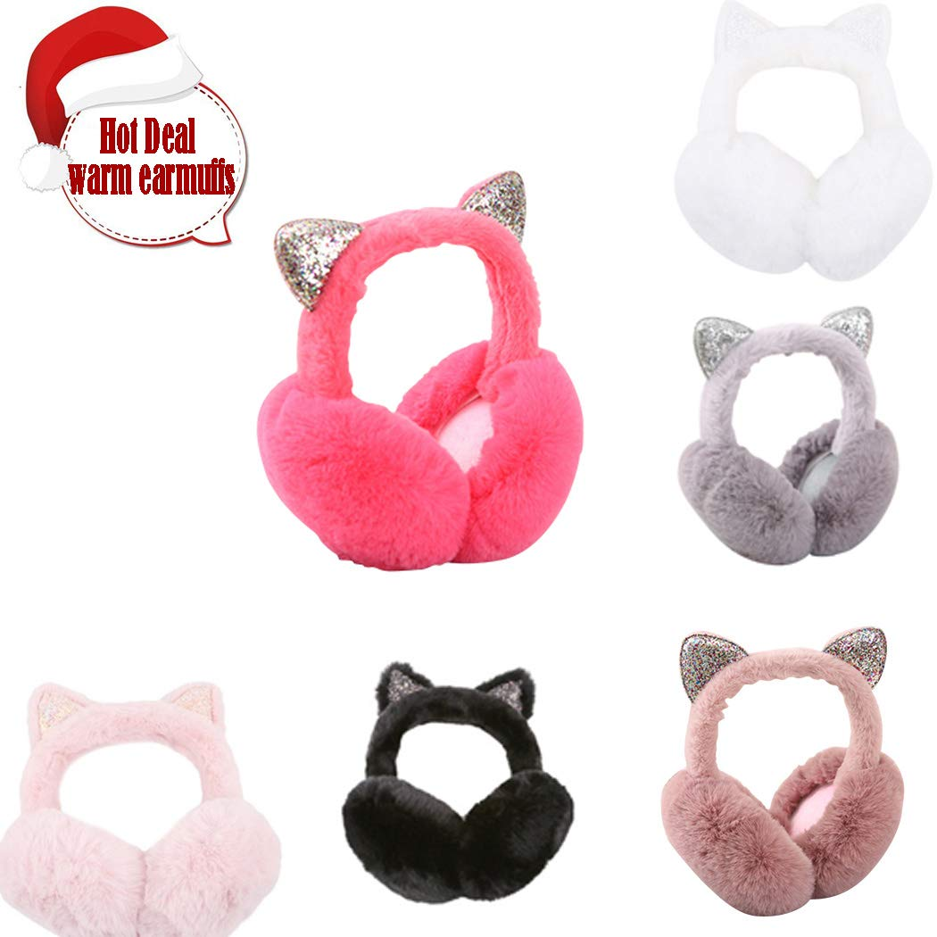 Women Warm Earmuffs Adjustable Windproof Cartoon Cat Ears Design Ear Warmers