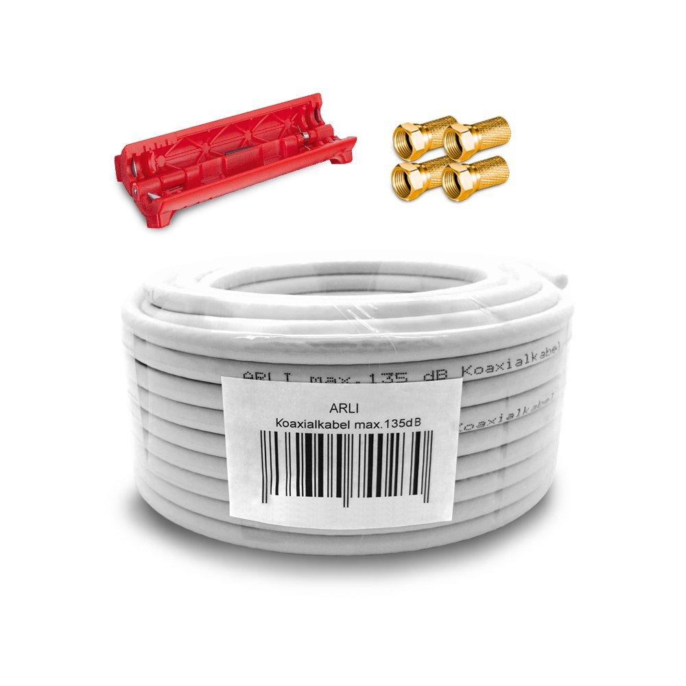 HD Sat Kabel 50 m Koaxialkabel 135 dB + Kabelmesser + 4 x F Stecker vergoldet + 4x Gummitü lle Koaxial 5 fach geschirmt Satkabel TV Antennenkabel Koax 4K F-Stecker gold ARLI 50m+4FG+GT+AI
