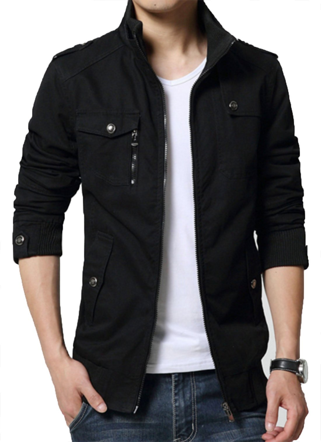 XueYin Men's Solid Cotton Casual Wear Stand Collar Jacket(Black,M Size) by XueYin