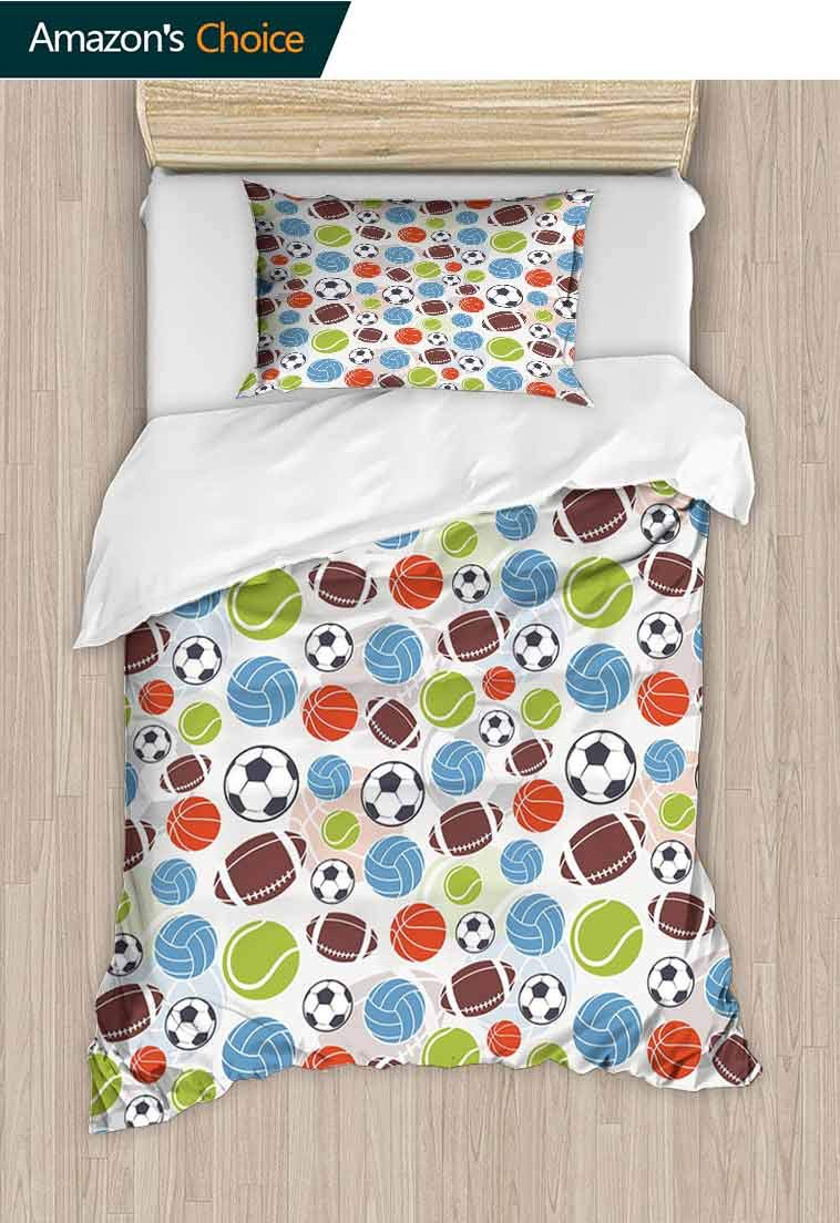 Sport Custom Made Quilt Cover and Pillowcase Set, Sports Balls Pattern Abstract Basketball Football, Bedding Set Cover with 1 Pillow Shams Decorative Quilt Cover Set, 63 W x 82 L Inches Multicolor