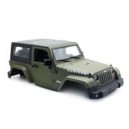 Olive Green RC Rock Crawler 1:10 Jeep Wrangler Rubicon Car Shell for Axial  SCX10 Tamiya CC01 RC4WD D90 Hard Plastic Car Body