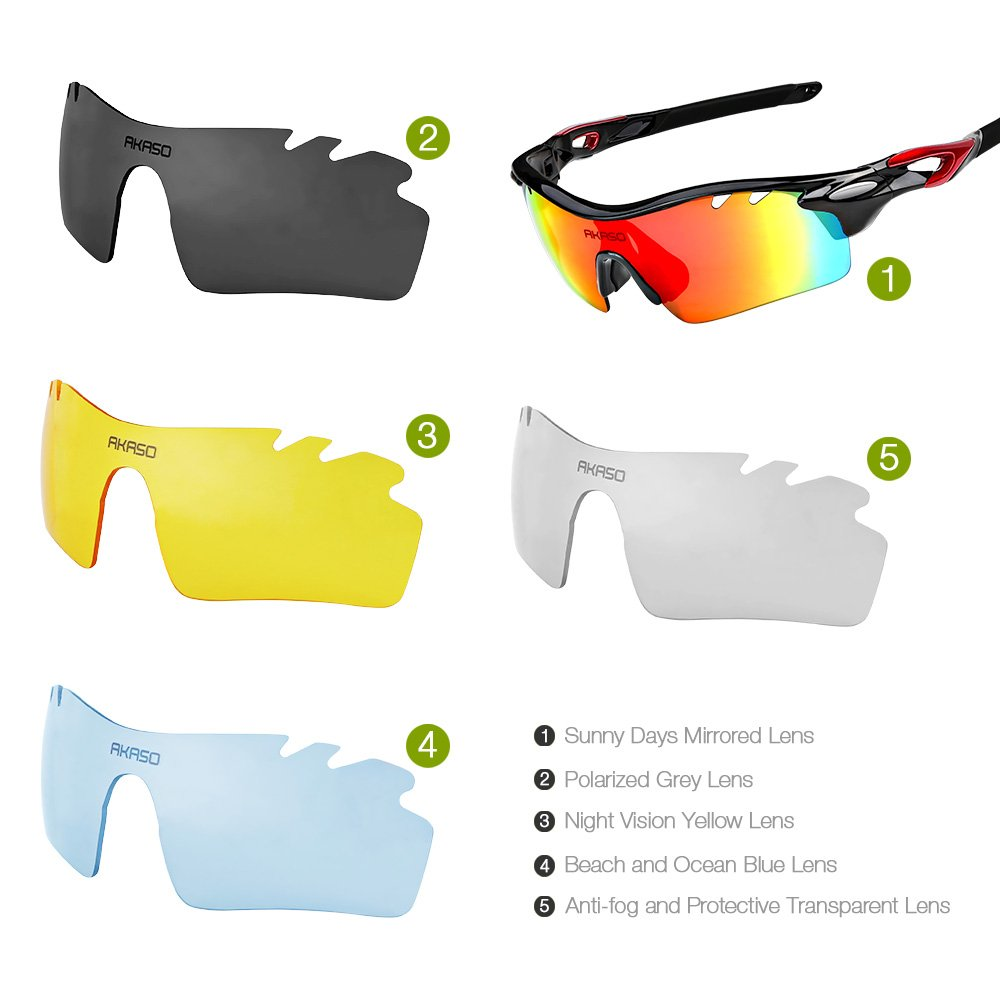 sunglasses lenses polarized  Amazon.com : AKASO Polarized Sports Sunglasses, 5 Interchangeable ...