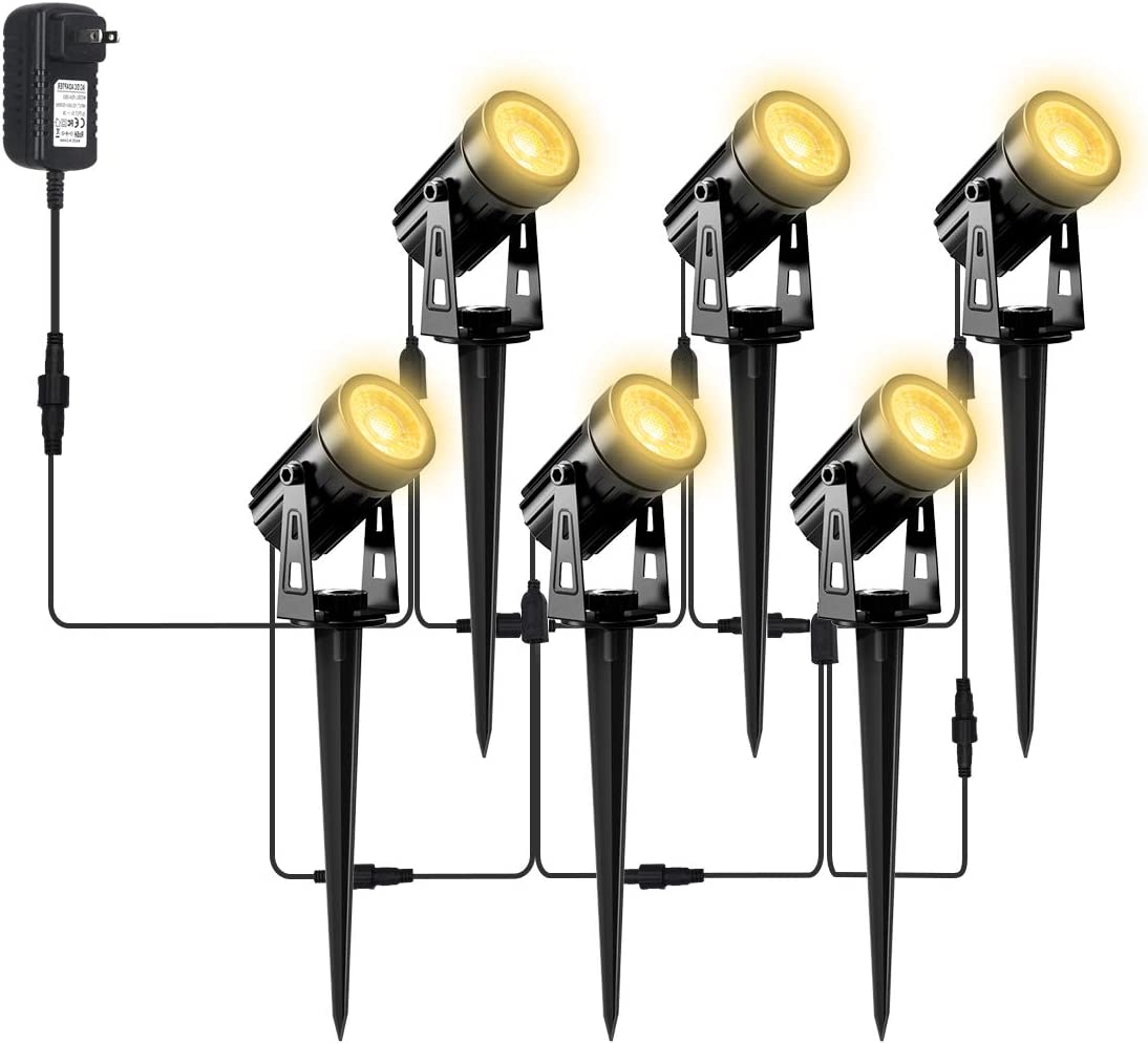 T-SUN LED Lights Outdoor Landscape Spotlights 6 Pack Waterproof Low Voltage Safety Garden Courtyard Light 12V Warm White Lights Stand Spike for Driveway Walkway Lawn