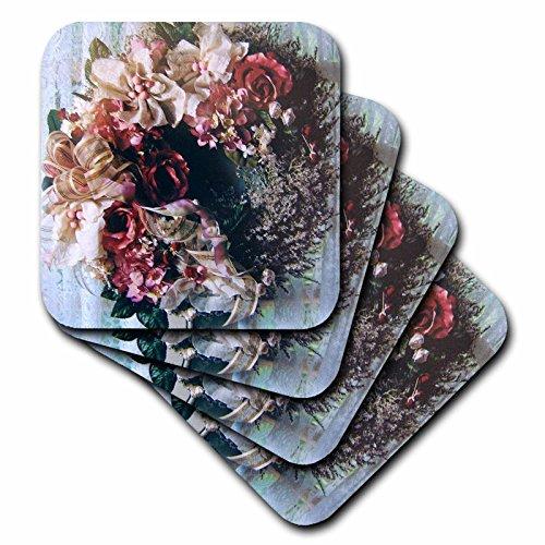 3dRose cst_21580_3 Victorian Wreath Ceramic Tile Coasters, Set of 4 (Ceramic Tile Victorian)