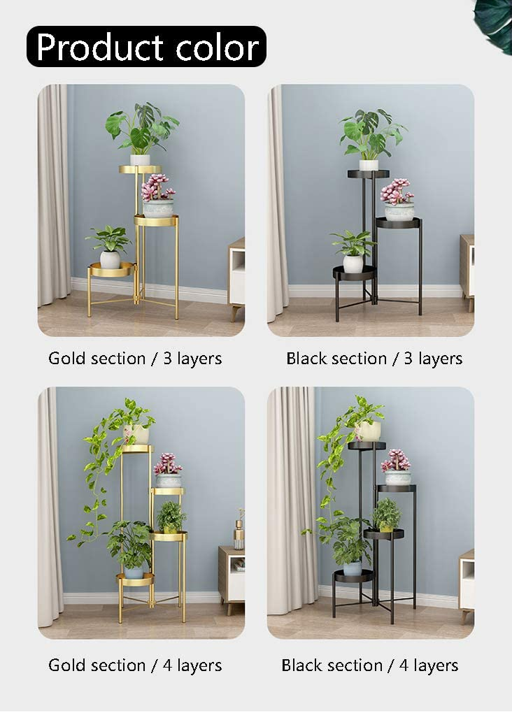 WHJ@ Gold Plant Stand Plant Holder Flower Potted Holder Rack For Indoor Outdoor Iron Does Not Include Flower Pots