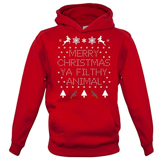c6af39a752c9 Merry Christmas Ya Filthy Animal - Enfant Sweat Pull - Rouge - XS (1 ...