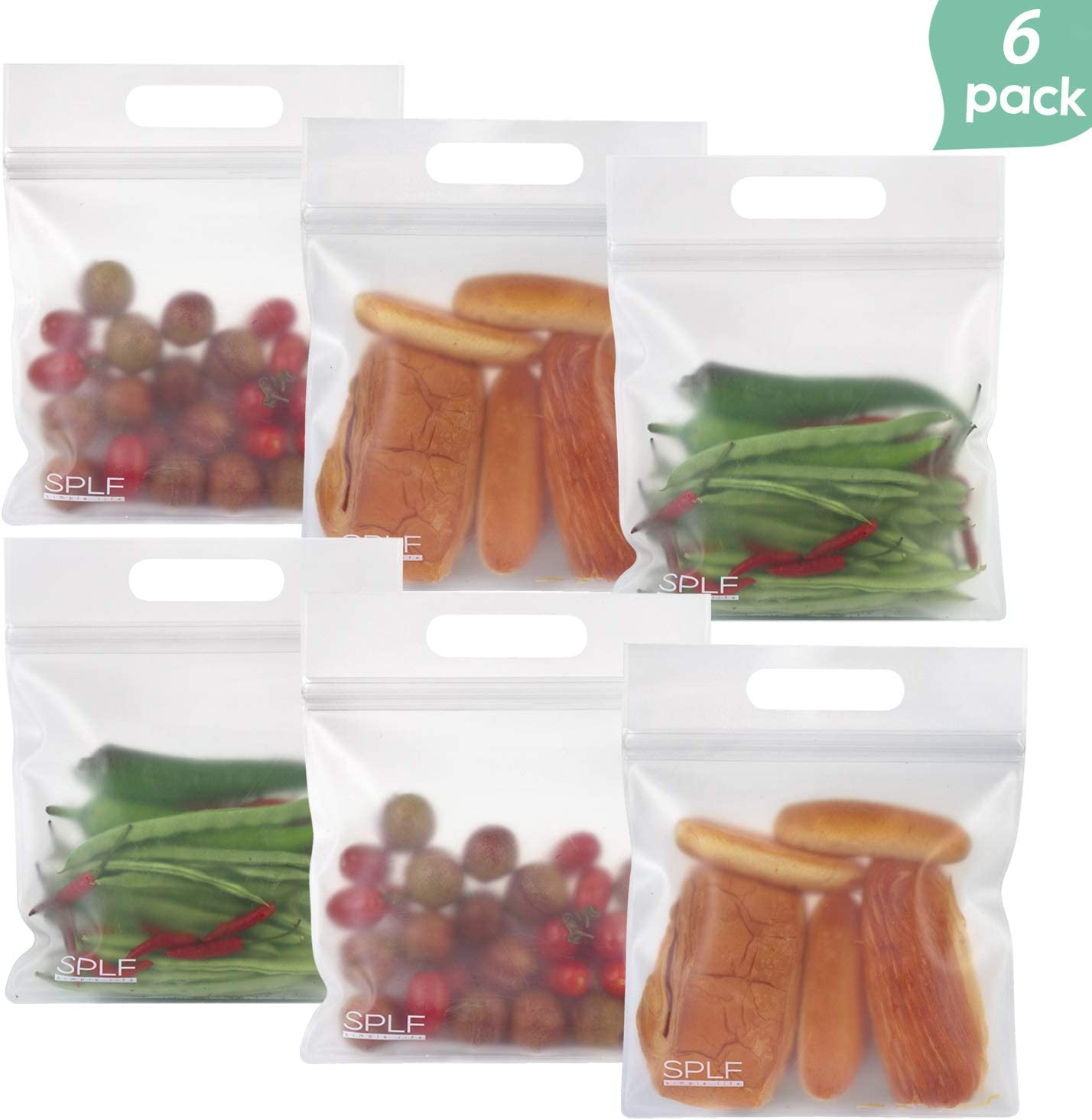 SPLF 6 Pack Lunch Bag with Handler, Extra Thick BPA Free PEVA Ziplock Bags, Ideal For Sandwich, Snacks, Food Storage, Make-up Travel Home Organization.