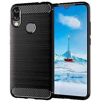 ImoreTEC Funda Xiaomi Redmi Note 7/7 Pro Negro de Silicona Dura, Carcasa Protectora Resistente, Antigolpes y Antirayaduras con Acabado en Fibra de ...