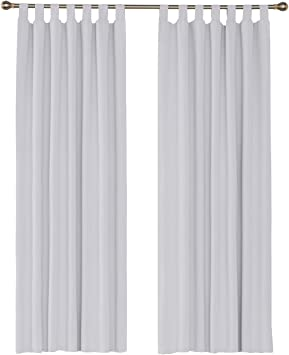 Umi. by Amazon - 2 Stück Verdunklungsvorhang Blickdicht Vorhänge Gardinen  mit Schlaufen 245x140 cm Weiß Grau