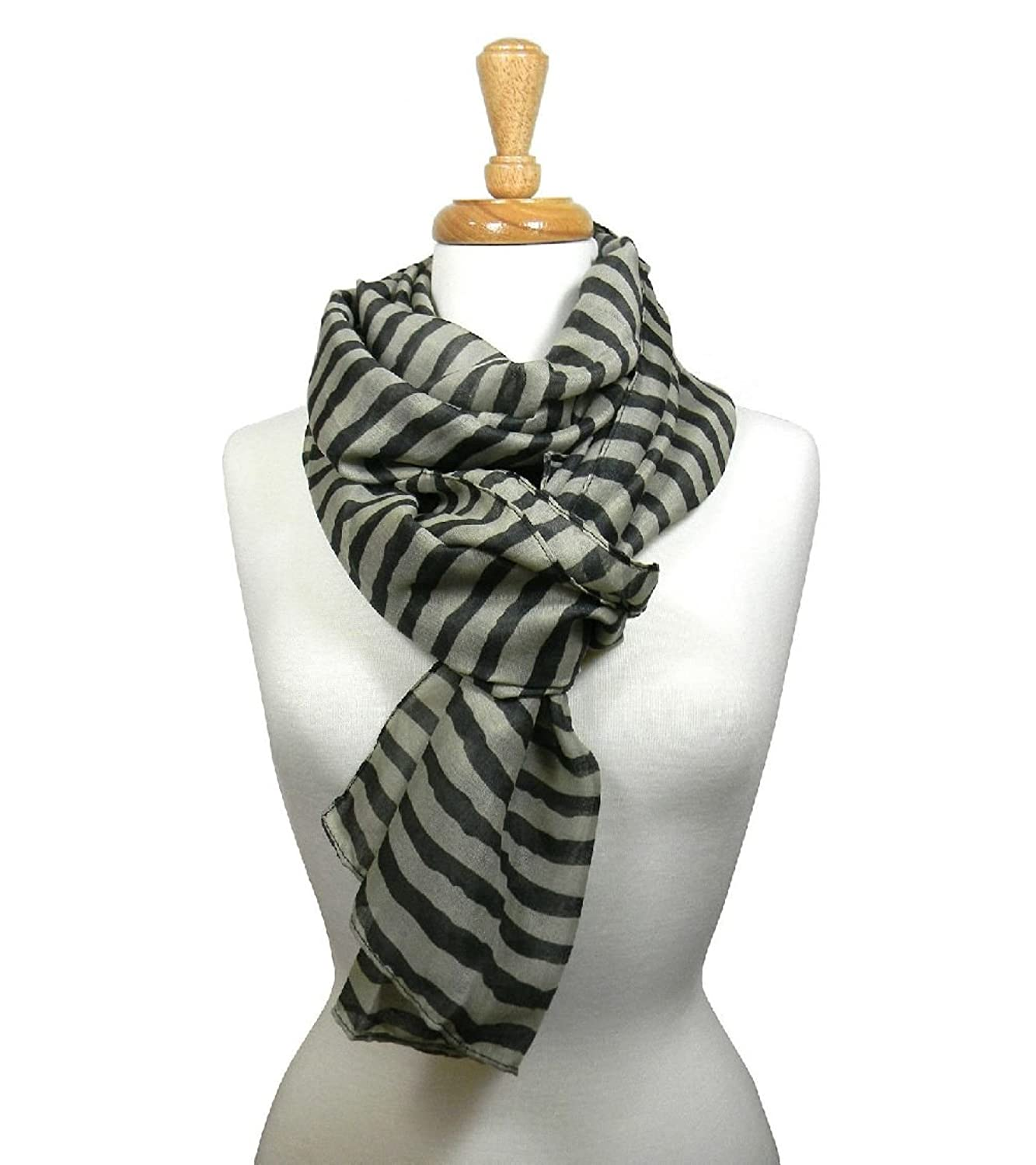 Women'S Stripe Scarf Cable Cowl Neck Long Shawl Winter Warmer Sheer