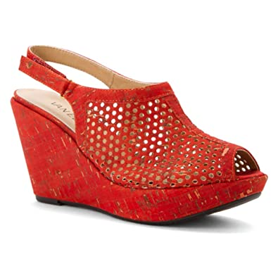 12ded49f07 Amazon.com | VANELi Women's Emmalee Red Leol Cork Sandal | Platforms ...