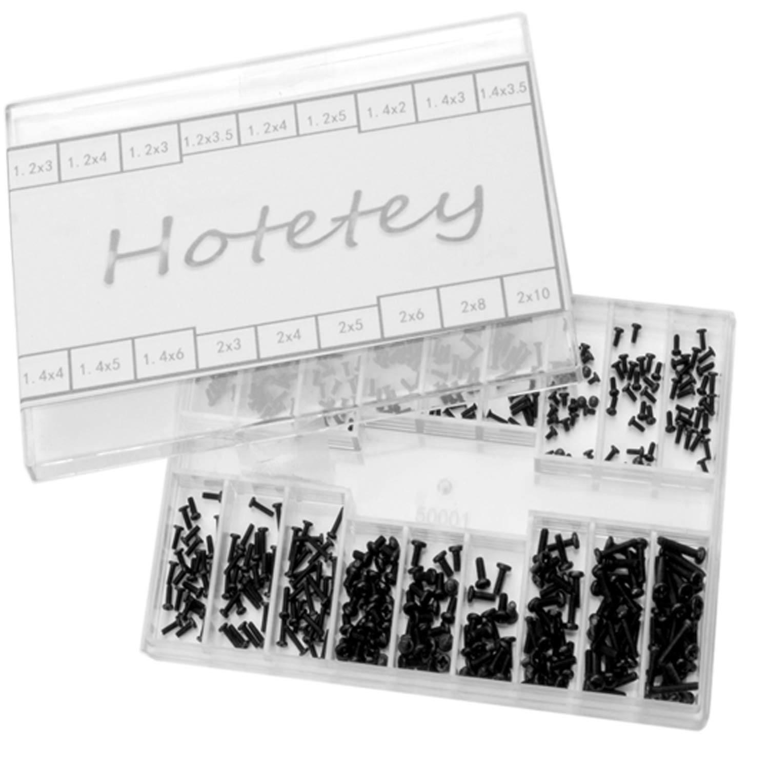 Small Screws Assortment Kit Hotetey 18 Kinds M1.2 / M1.4 / M2.0 Tiny Micro Screws Set for Glasses Watches (Black)