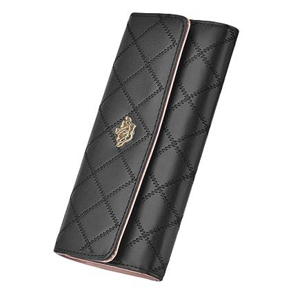 Cartera de Mujer Grande-Compartimientos con Cremallera/Material Premium/Tacto Suave/Estilo Original-Billeteras Monedero Tarjetero para Mujer(Negra ...