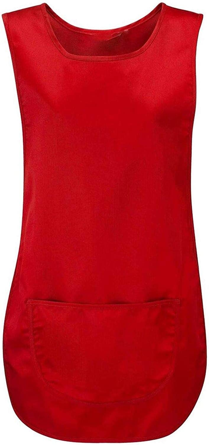 Ladies Plain Pocket Apron Womens Cleaning Catering Sleeveless Vest Top Tabard