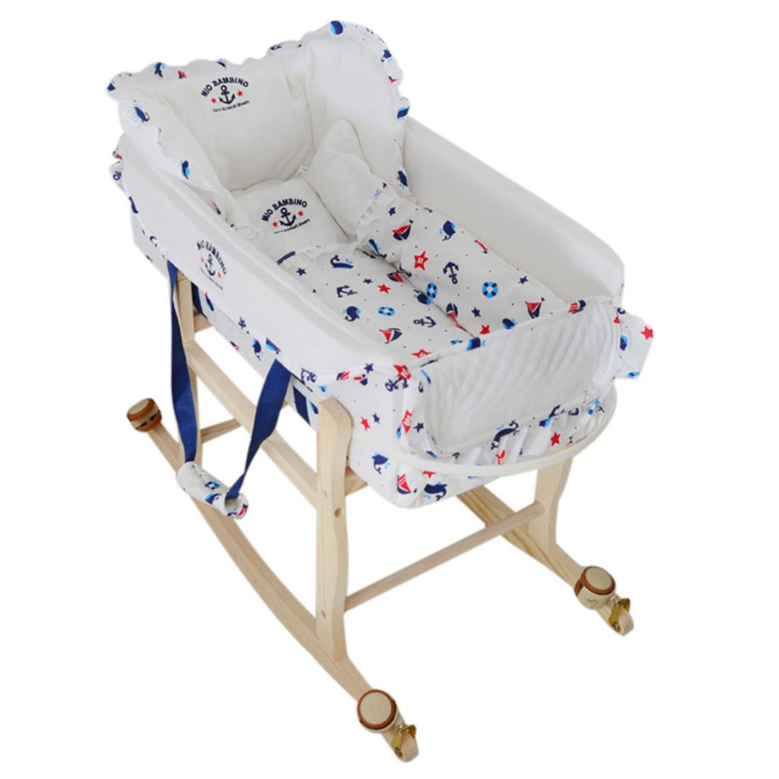 Enerhu 2 in 1 Infant Bassinet Crib Cradle with Portable Bed for Newborn Baby Travel #1
