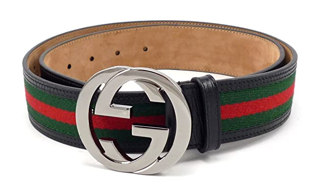 0bdb7166e48 100% Authentic GG Silver Buckle Gucci Black leather belt Green Red Green .