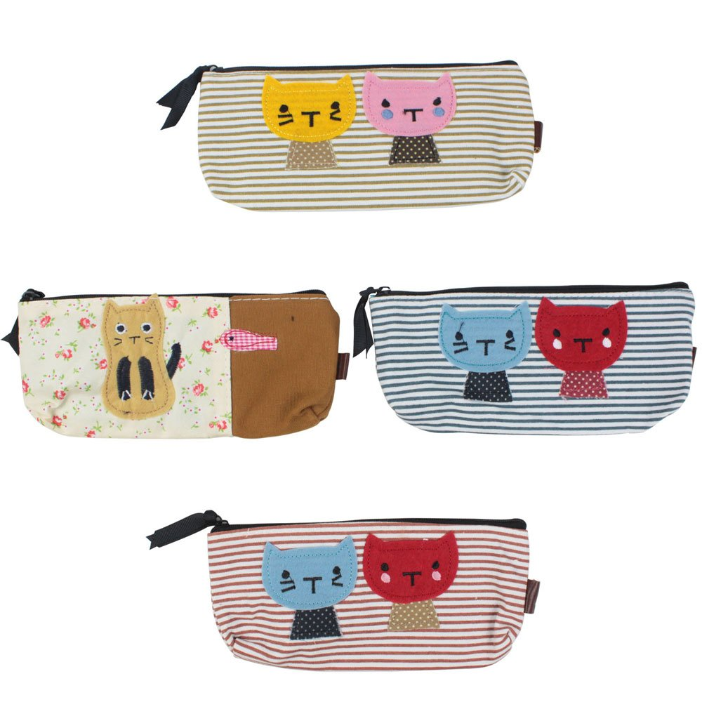 Cat Canvas Pen Bag Pencil Case, Brand New, Different Colors,set of 4