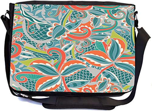 Rikki Knight Swirl Patterns Orange Blues Design Design Multifunctional Messenger Bag - School Bag - Laptop Bag - with padded insert for School or Work - Includes Matching Compact Mirror