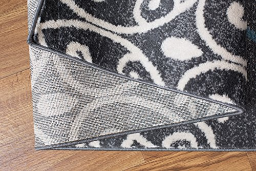 "Contemporary Modern Floral Indoor Soft Area Rug 5'3"" x 7'3\"" Gray"
