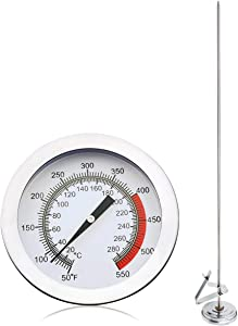 Deep Fryer Turkey Thermometer with Clip&15 inch stem - Best Professional Kitchen Pot Fryer Thermometer, Stainless Steel Fry Oil Thermometer, dial Thermometer for Candy and Meat Cooking-1 item