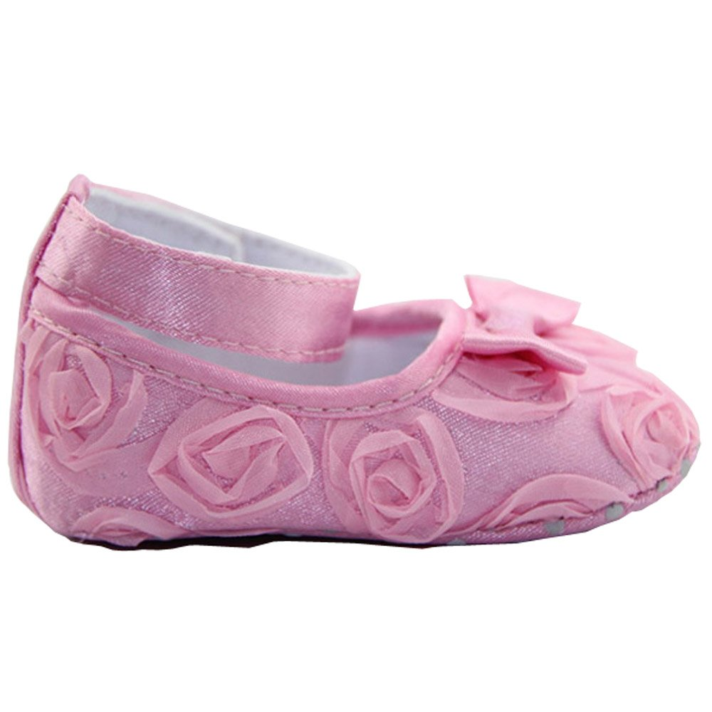 Cute Newborn Infant Girl Baby Rose Style Soft Princess Floral Crib Shoes Pink 12cm GGG