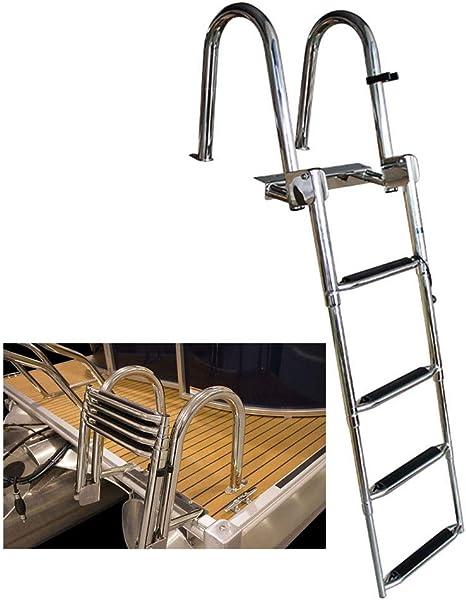 Escalera Telescópica- 4 Pasos Escalera de Barco Telescópica Acero Inoxidable, Escaleras de Baño Plegables con Peldaño Extra Ancho, para Marine Yacht: Amazon.es: Hogar