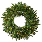 Vickerman Pre-Lit Cashmere Pine Wreath with 100 Warm White Italian LED Lights, 48-Inch, Green