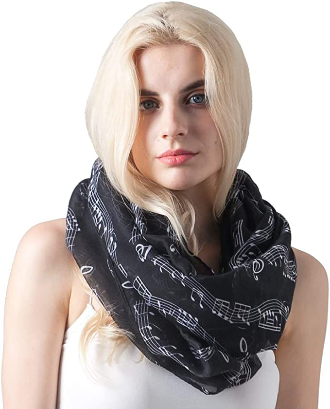 US Seller Music Note Music Book Piano circle loop infinity scarf Cheap Wrap