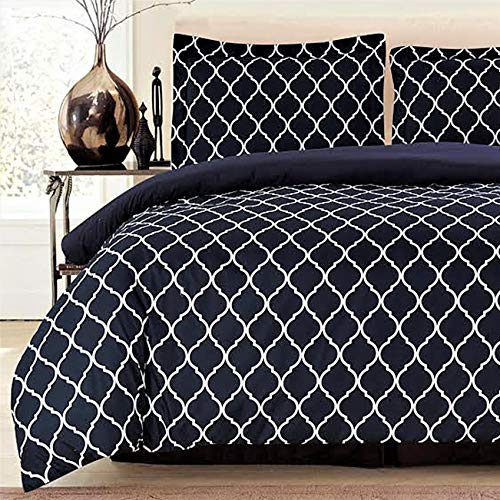 Lux Decor Collection Duvet Cover Set, 1800 Count Egyptian Quality King Soft Premium Bedding Collection, 3 Piece Luxury Soft, 2 Pillow Shams (Black/White, Full/Queen)