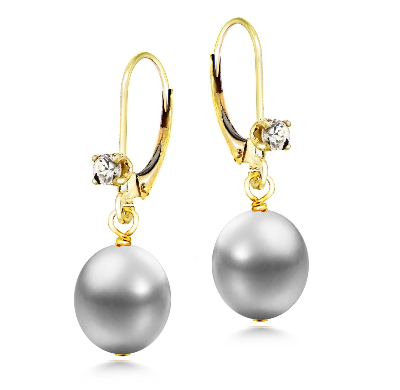 Girls Gold Earrings Dyed Gray Freshwater Cultured Pearl Leverback Dangle Cubic Zirconia 8-8.5mm
