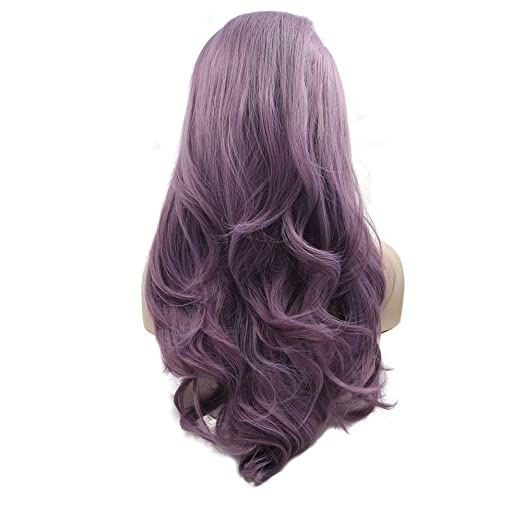 "E Nilecor Purple Lace Front Wig Women Long Synthetic Realistic Wavy Glueless Hair Replacement Wigs 24"" by E Nilecor"