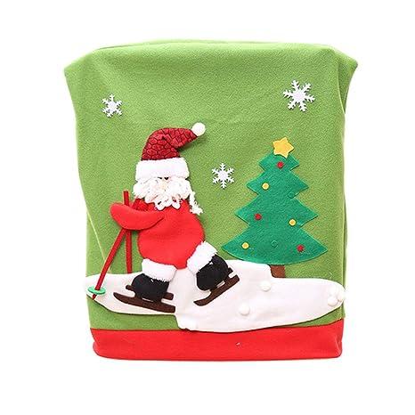 Gespout Navidad Decoración Silla Cubierta Elástica Tapa Silla Comedor Lavable Poliéster Sillas Protección Fundas para Hotel