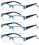 4-pack primavera Cerniere occhiali da lettura rettangolare include lettori di sole