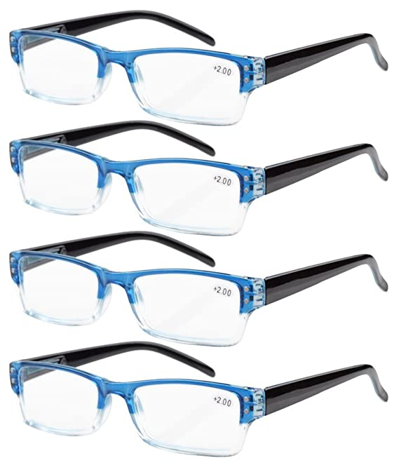 Eyekepper 4-pack Gafas de lectura rectangular con bisagras de resorte azul +1.25