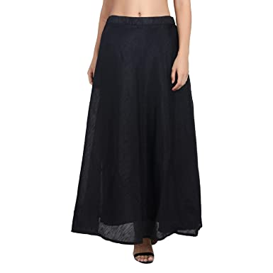 58a70a3a155 Shararat Women's Long Indo Western Traditional Chanderi Skirt (Black, Free  Size)