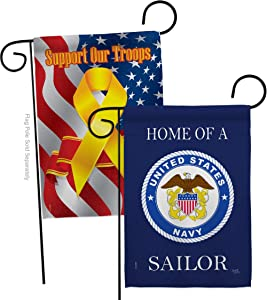 Home of Navy Sailor Garden Flag - Pack Armed Forces USN Seabee United State American Military Veteran Retire Official Support Our Troops - House Banner Small Yard Gift Double-Sided 13 X 18.5
