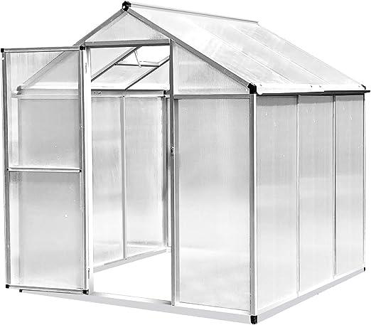 Outsunny Invernadero de Jardín Policarbonato Transparente Aluminio Caseta para Plantas y Cultivos con Puerta y Ventana Techo Inclinado con Canales 182x190x195cm: Amazon.es: Jardín
