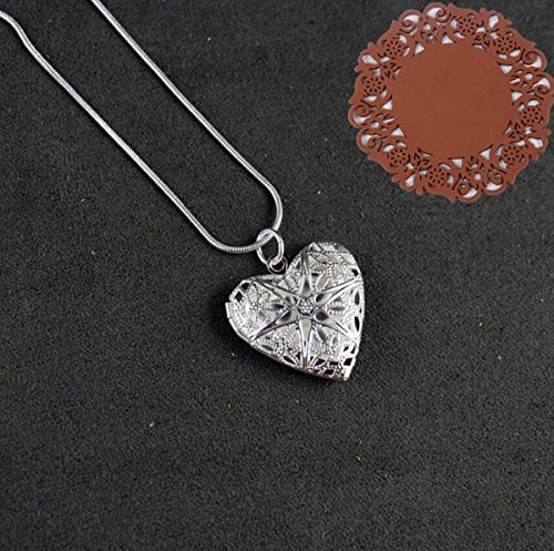 1 Piece Heart Locket Pendant Sterling Silver Plated Necklace Jewelry 24inch Plated Heart Locket
