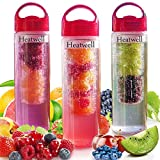 Heatwell Fruit Infuser Bottle for Flavored Infused Water - BPA Free and Leak Proof, 24 Oz