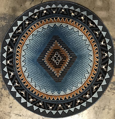South West Native American Round Area Rug Blue & Brown Design D143 ( 6 Feet 7 Inch X 6 Feet 7 Inch Round) by Kingdom