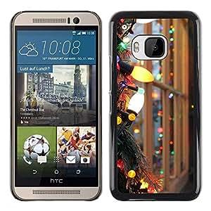 Be Good Phone Accessory // Dura Cáscara cubierta Protectora Caso Carcasa Funda de Protección para HTC One M9 // Christmas Lights Colorful Bright Window