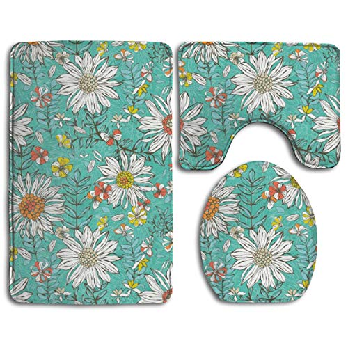 - KDCRDIY Summer Skies Turquoise Daisies Bathroom Rug Mat 3 Pcs Set Flannel Shower Bath Rugs - Contour Mat and Lid Cover Soft Non-Slip Back