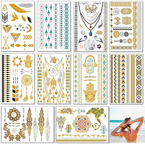 Metallic Temporary Tattoos for Women Teens Girls - 10 Sheets Boho Festival Accessories Waterproof Flash Fake Jewelry Tattoo - Bracelets, Feathers, Necklace,Arrow]()