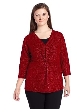 Sag Harbor Women's Plus-Size Fukara Knit Top, Rouge, 1X