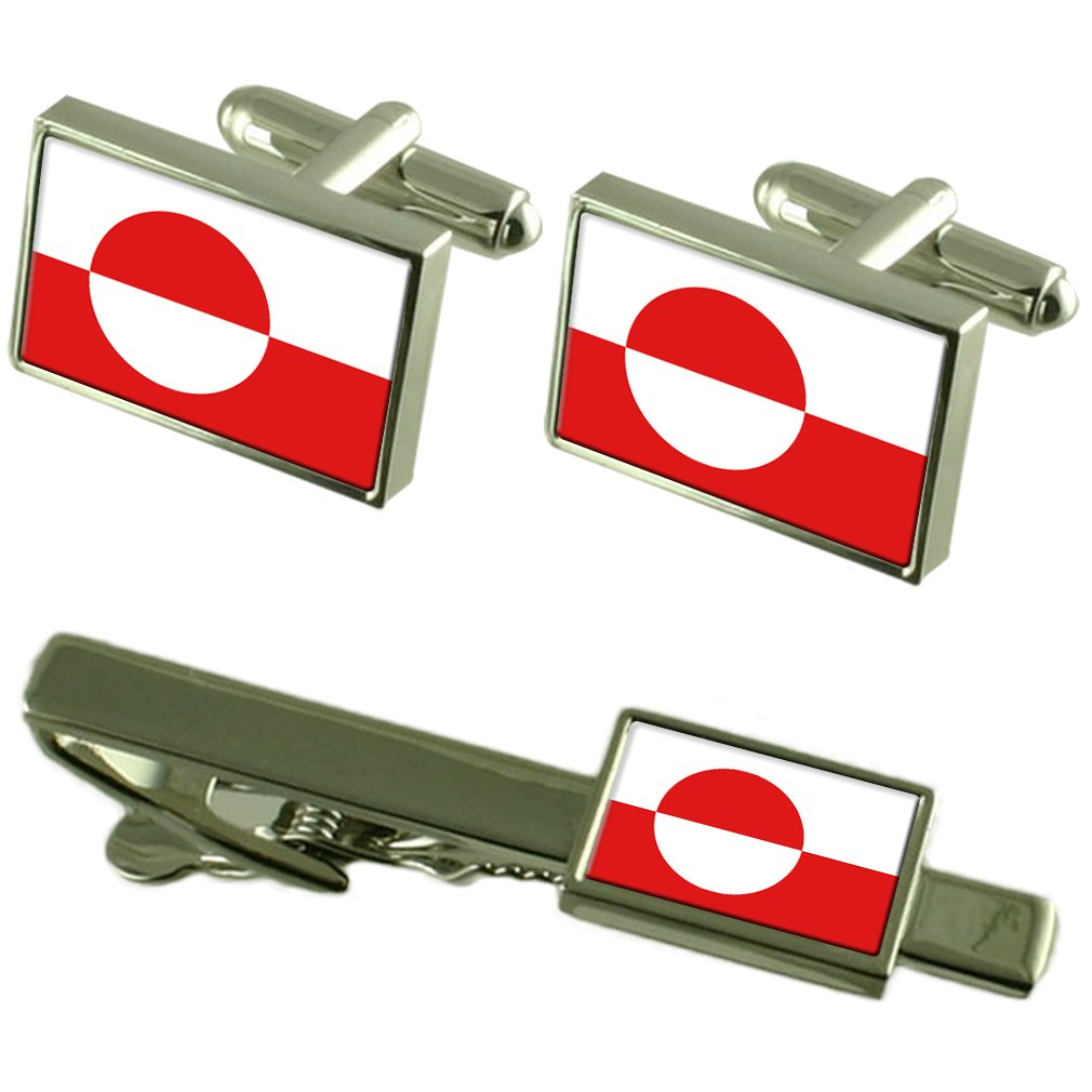 Greenland Flag Cufflinks Tie Clip Matching Box Gift Set