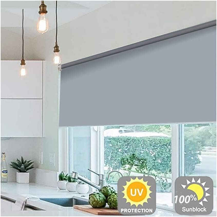 Blackout Roller Shades Corded Office Decorative Roller Blinds Waterproof Oil Proof Shade 100 Room Darkening Window Curtain Panels Easy Installation 48 Size Gdming Color Gray Size 70x80cm Amazon Co Uk Kitchen Home